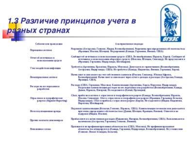 1.3 Различие принципов учета в разных странах