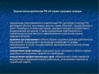 Задачи законодательства РФ об охране здоровья граждан определение ответственн...