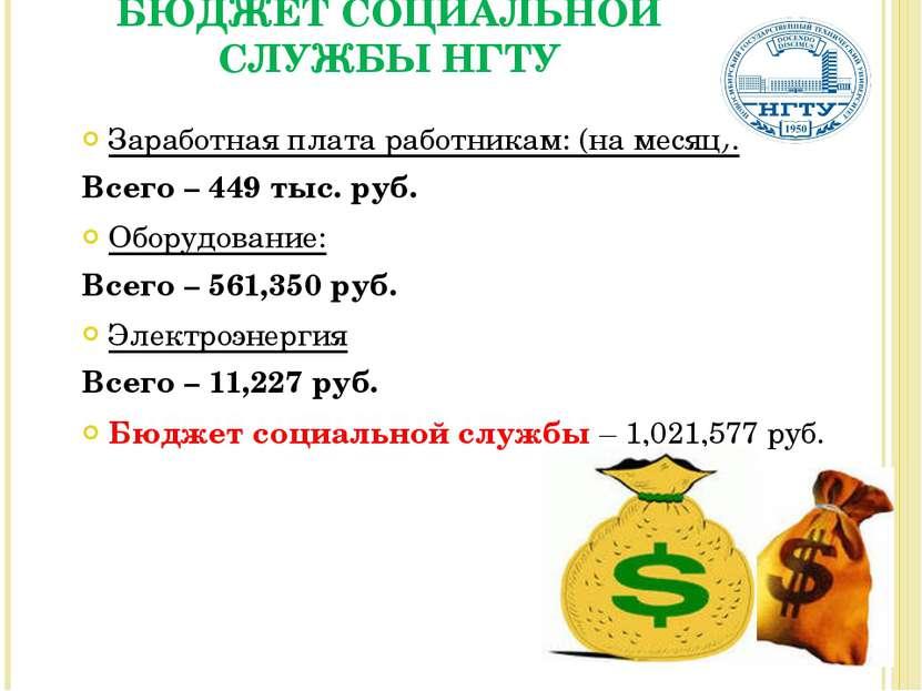 Заработная плата работникам: (на месяц): Всего – 449 тыс. руб. Оборудование: ...