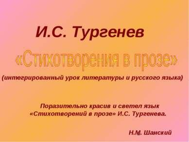 И.С. Тургенев (интегрированный урок литературы и русского языка) Поразительно...