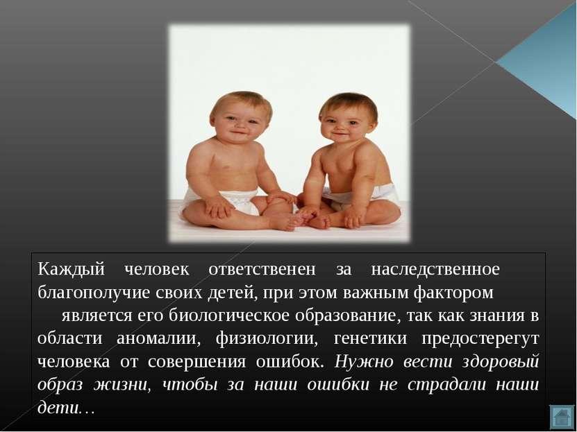 Каждый человек ответственен за наследственное благополучие своих детей, при э...