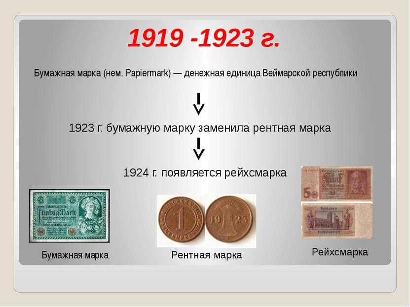 1919 -1923 г. Бумажная марка (нем. Papiermark) — денежная единица Веймарской ...