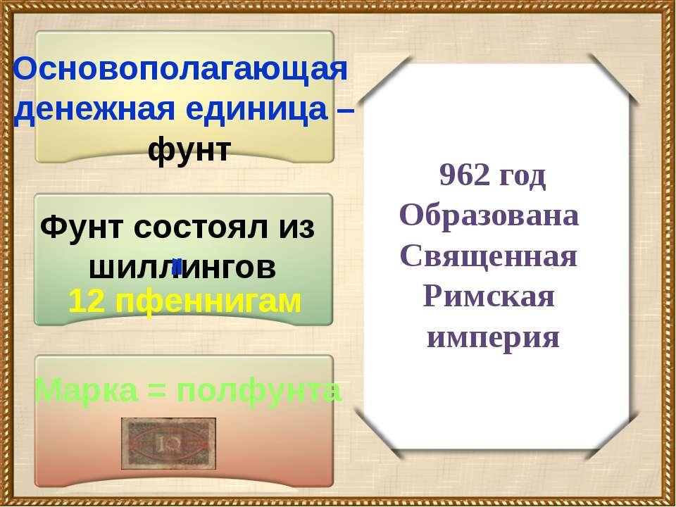 962 год Образована Священная Римская империя Основополагающая денежная единиц...