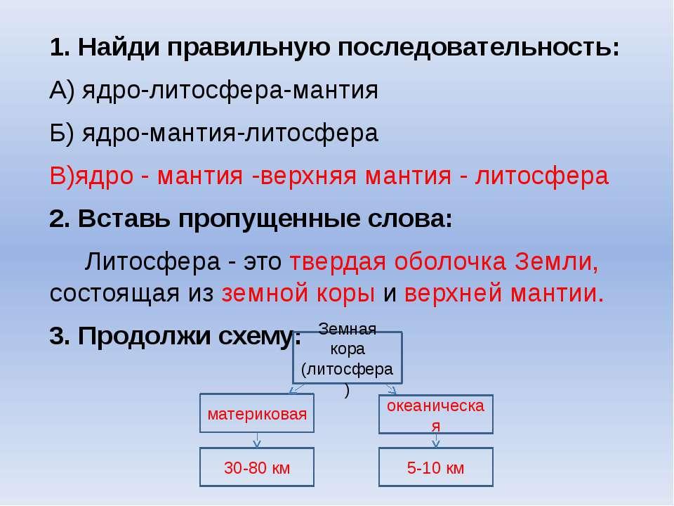 1. Найди правильную последовательность: А) ядро-литосфера-мантия Б) ядро-мант...