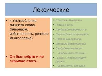 4.Употребление лишнего слова (плеоназм, избыточность, речевое многословие) Он...