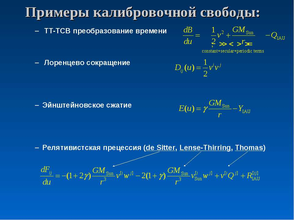 Примеры калибровочной свободы: TT-TCB преобразование времени Лоренцево сокращ...