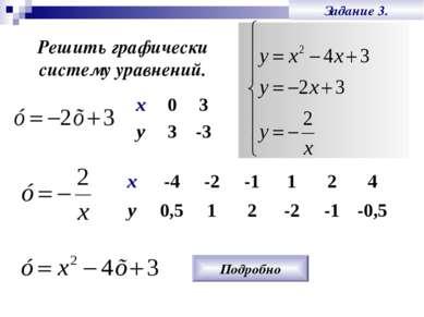 Задание 3. Решить графически систему уравнений. Подробно х 0 3 у 3 -3 х -4 -2...