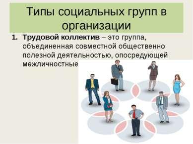 Типы социальных групп в организации Трудовой коллектив – это группа, объедине...