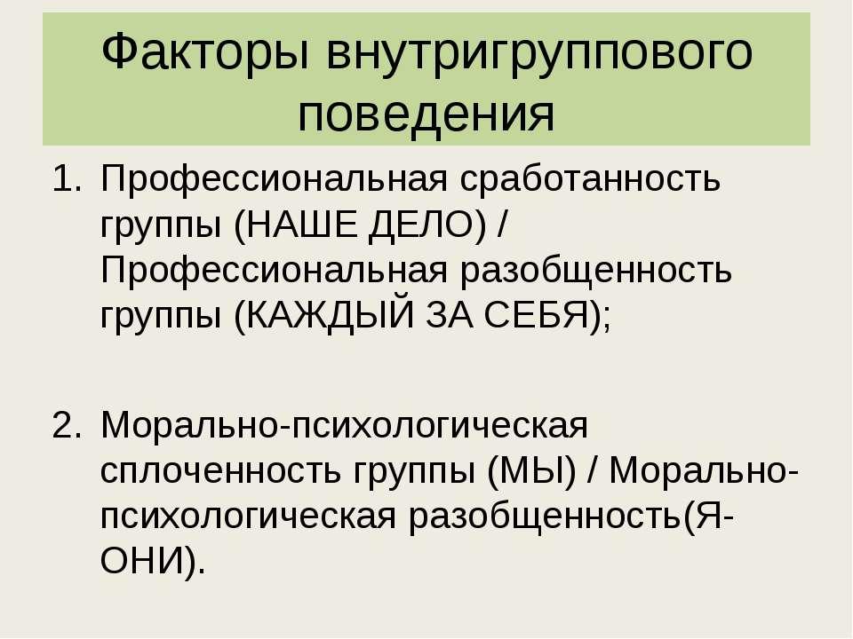 Факторы внутригруппового поведения Профессиональная сработанность группы (НАШ...
