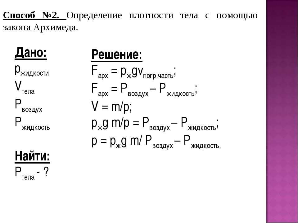 Способ №2. Определение плотности тела с помощью закона Архимеда. Дано: pжидко...