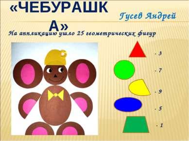 «ЧЕБУРАШКА» Гусев Андрей На аппликацию ушло 25 геометрических фигур - 3 - 7 -...