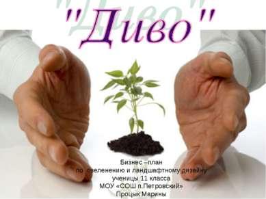 Бизнес –план по озеленению и ландшафтному дизайну ученицы 11 класса МОУ «СОШ ...