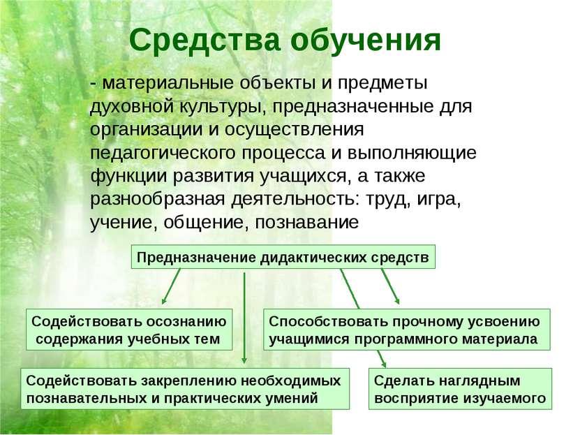 Средства обучения - материальные объекты и предметы духовной культуры, предна...