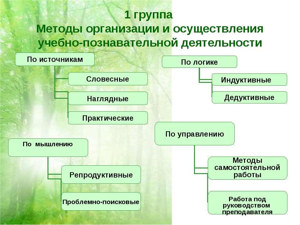 1 группа Методы организации и осуществления учебно-познавательной деятельности