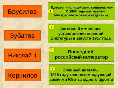 Зубатов Идеолог «полицейского социализма» С 1896 года возглавлял Московское о...