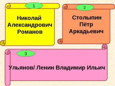Ульянов/ Ленин Владимир Ильич Столыпин Пётр Аркадьевич Николай Александрович ...