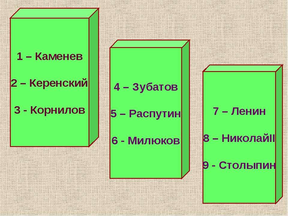 1 – Каменев 2 – Керенский 3 - Корнилов 4 – Зубатов 5 – Распутин 6 - Милюков 7...