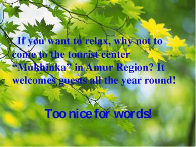 "If you want to relax, why not to come to the tourist center ""Mukhinka"" in Amu..."