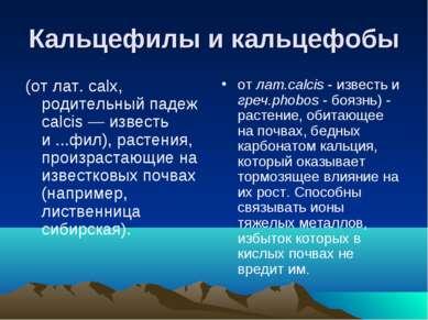 Кальцефилы и кальцефобы (от лат. calx, родительный падеж calcis — известь и ....