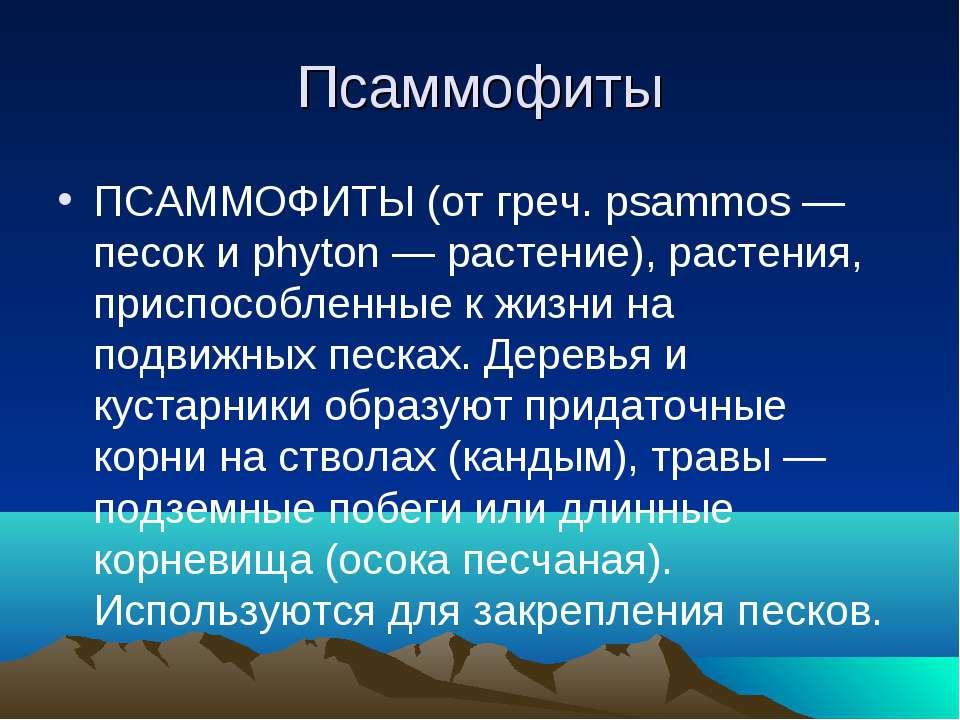 Псаммофиты ПСАММОФИТЫ (от греч. psammos — песок и phyton — растение), растени...