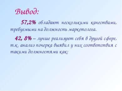 Вывод: 57,2% обладают несколькими качествами, требуемыми на должность маркето...