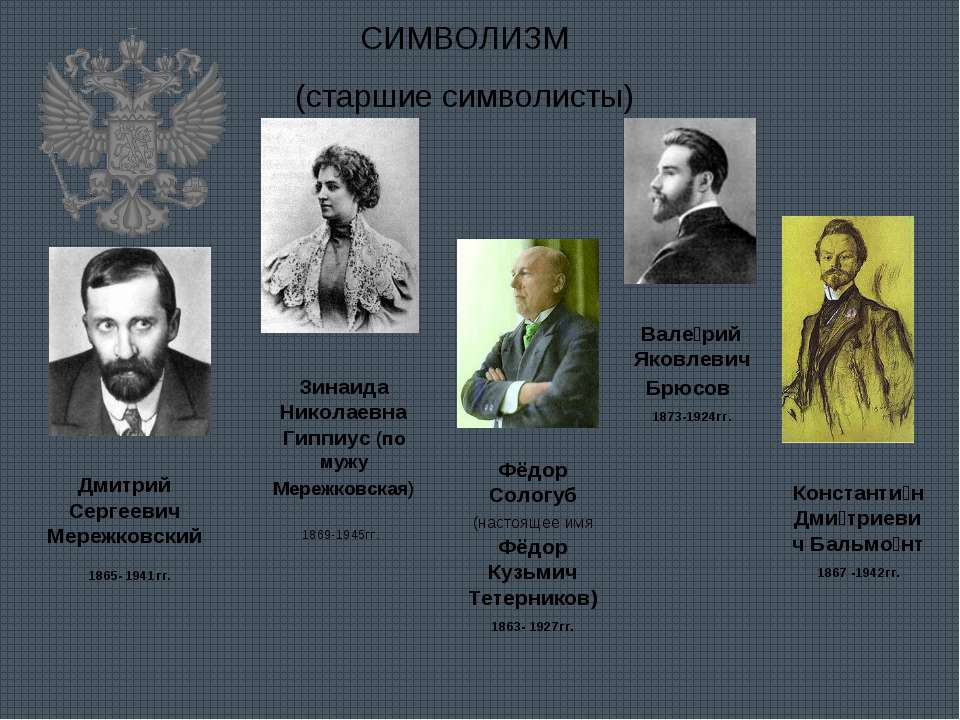 СИМВОЛИЗМ (старшие символисты) Дмитрий Сергеевич Мережковский 1865- 1941гг. З...