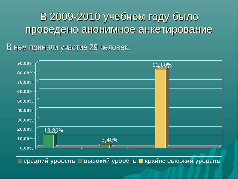 В 2009-2010 учебном году было проведено анонимное анкетирование В нем приняли...