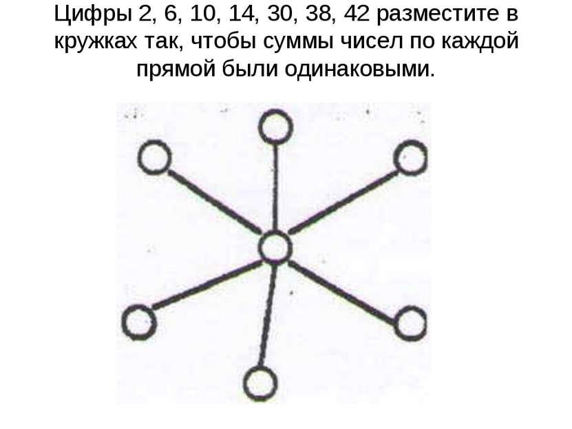 Цифры 2, 6, 10, 14, 30, 38, 42 разместите в кружках так, чтобы суммы чисел по...