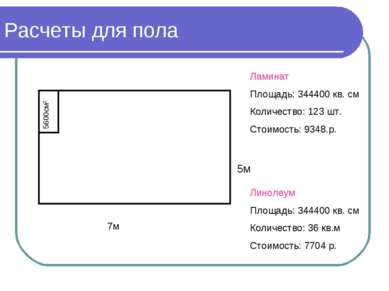 Расчеты для пола 5м 7м 5600см2 Ламинат Площадь: 344400 кв. см Количество: 123...