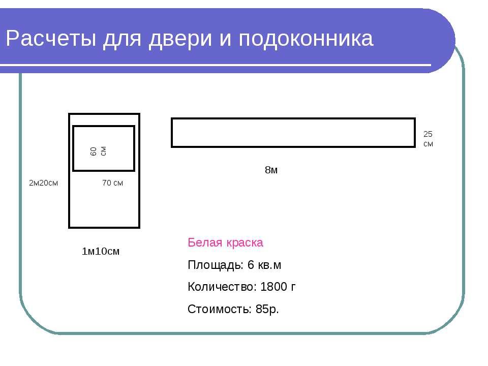 Расчеты для двери и подоконника 1м10см 2м20см 70 см 60 см 25 см 8м Белая крас...