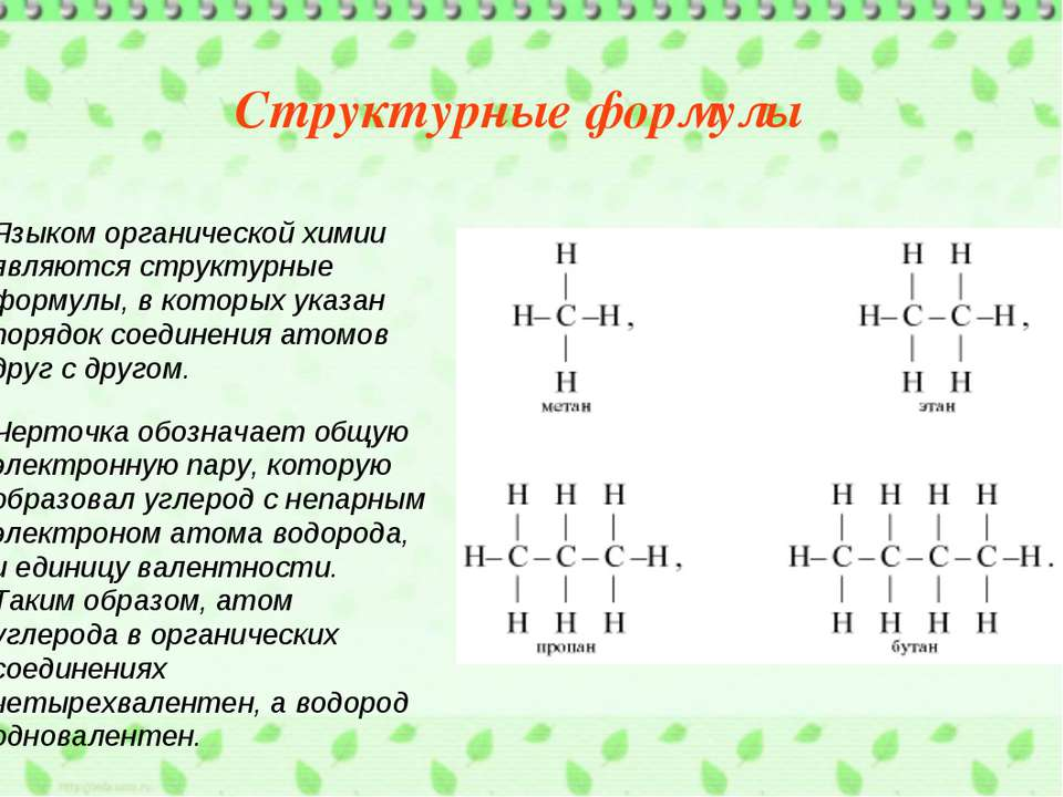 Языком органической химии являются структурные формулы, в которых указан поря...
