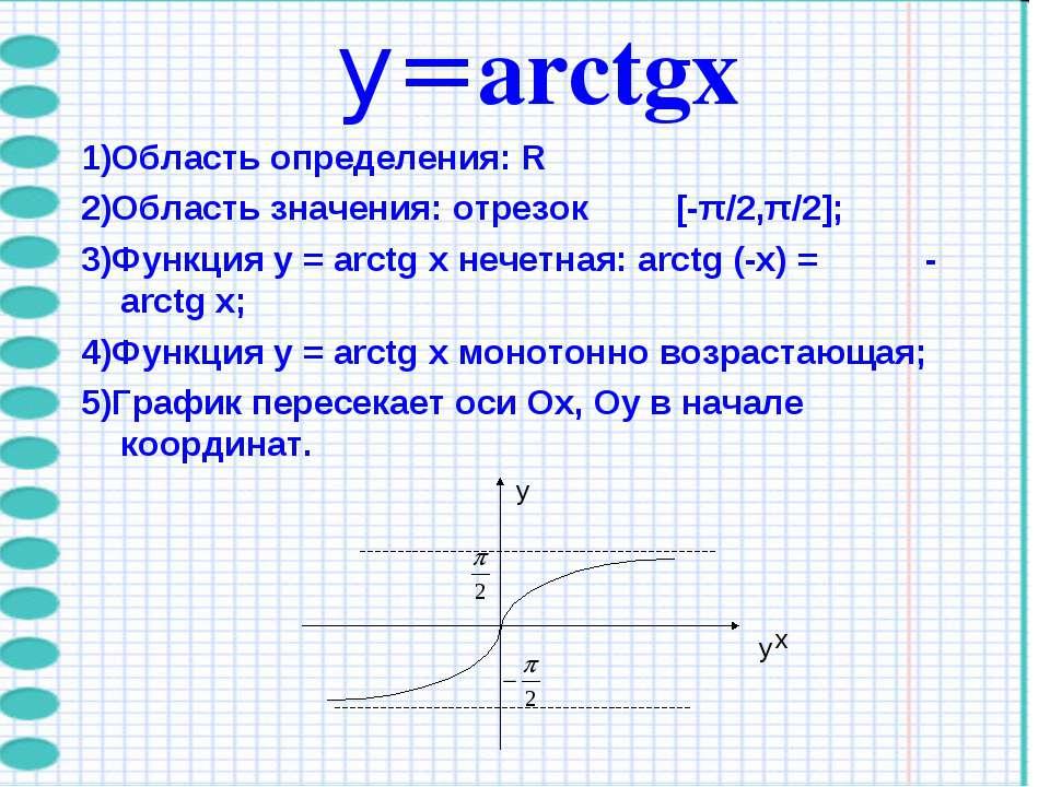 y=arctgх 1)Область определения: R 2)Область значения: отрезок [-π/2,π/2]; 3)Ф...
