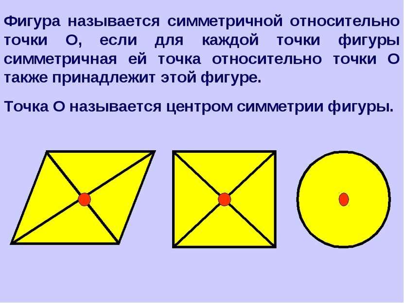 Фигура называется симметричной относительно точки О, если для каждой точки фи...