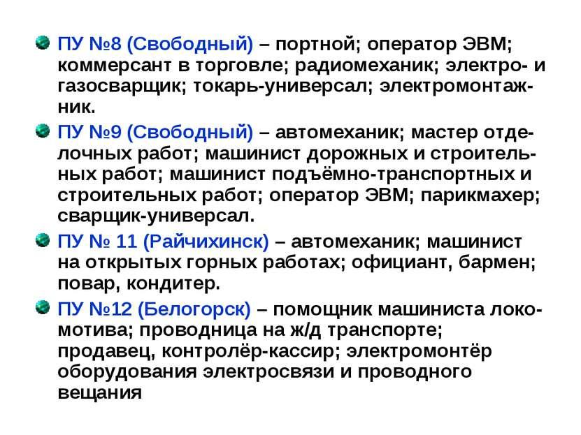 ПУ №8 (Свободный) – портной; оператор ЭВМ; коммерсант в торговле; радиомехани...
