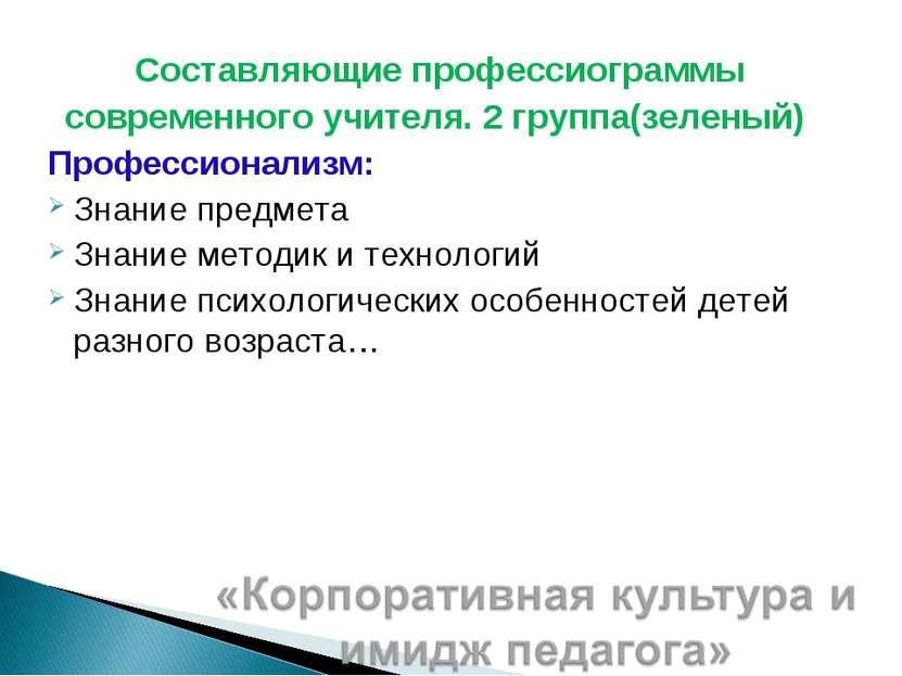 Составляющие профессиограммы современного учителя. 2 группа(зеленый) Професси...