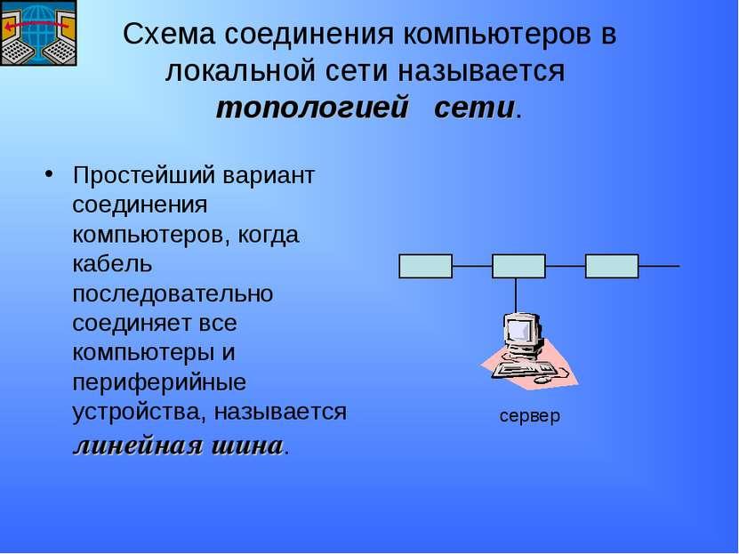 Схема соединения компьютеров в локальной сети называется топологией сети. Про...