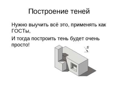Построение теней Нужно выучить всё это, применять как ГОСТы, И тогда построит...