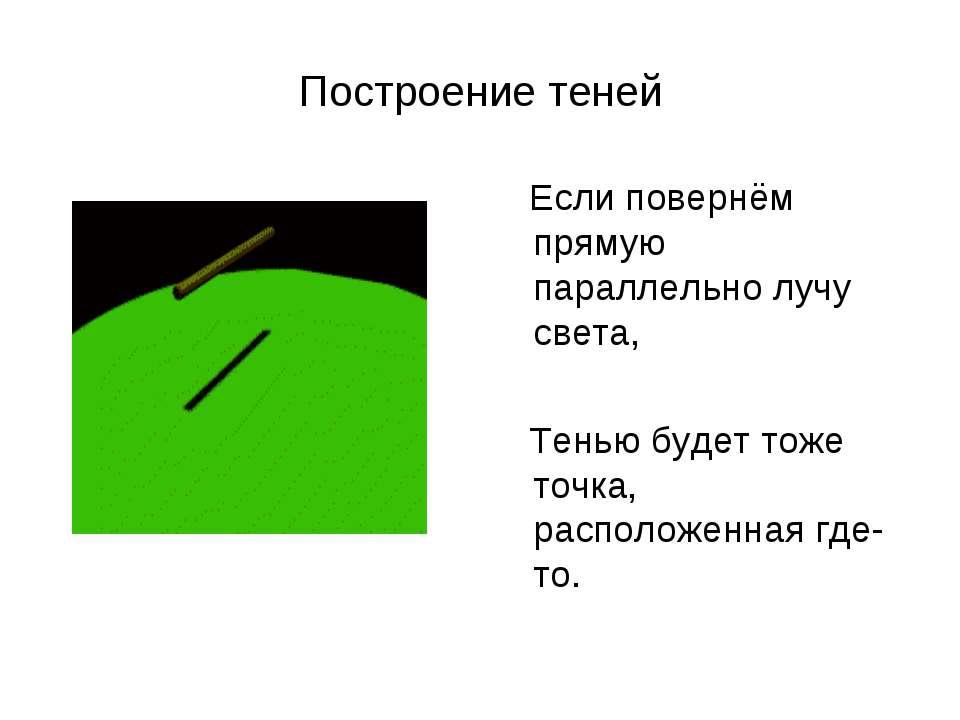 Построение теней Если повернём прямую параллельно лучу света, Тенью будет тож...