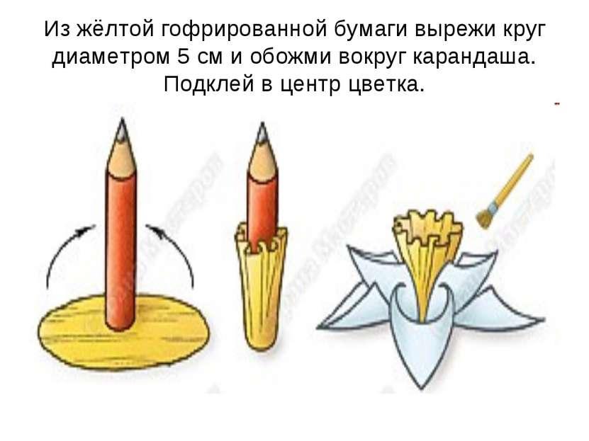 Из жёлтой гофрированной бумаги вырежи круг диаметром 5 см и обожми вокруг кар...