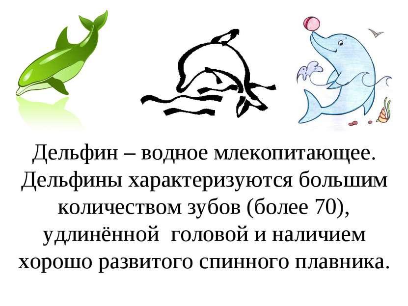 Дельфин – водное млекопитающее. Дельфины характеризуются большим количеством ...