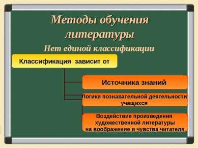 Методы обучения литературы Нет единой классификации