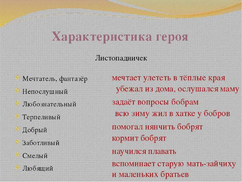 Характеристика героя Листопадничек Мечтатель, фантазёр Непослушный Любознател...