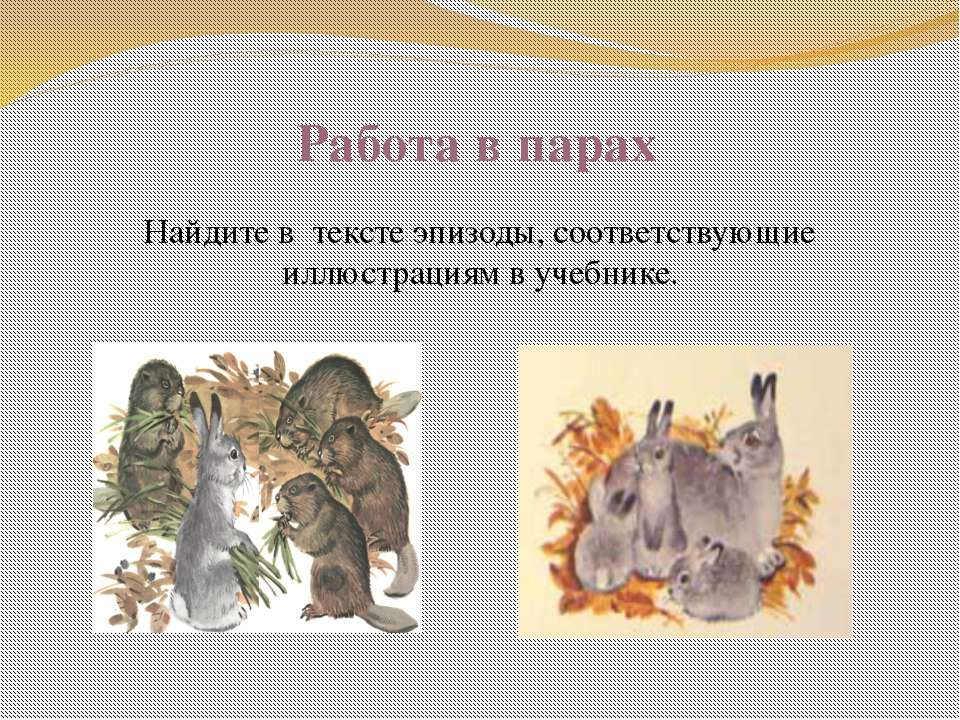 Работа в парах Найдите в тексте эпизоды, соответствующие иллюстрациям в учебн...