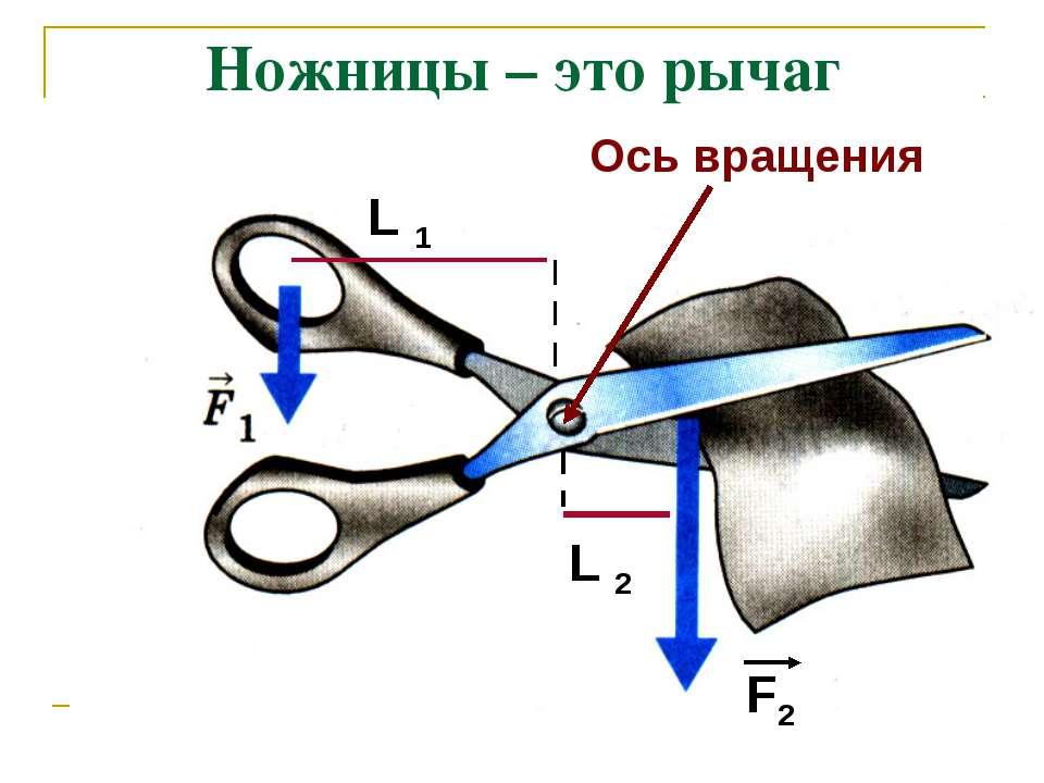 Ножницы – это рычаг Ось вращения L 1 F2 L 2