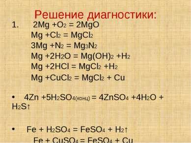 Решение диагностики: 1. 2Mg +O2 = 2MgO Mg +Cl2 = MgCl2 3Mg +N2 = Mg3N2 Mg +2H...