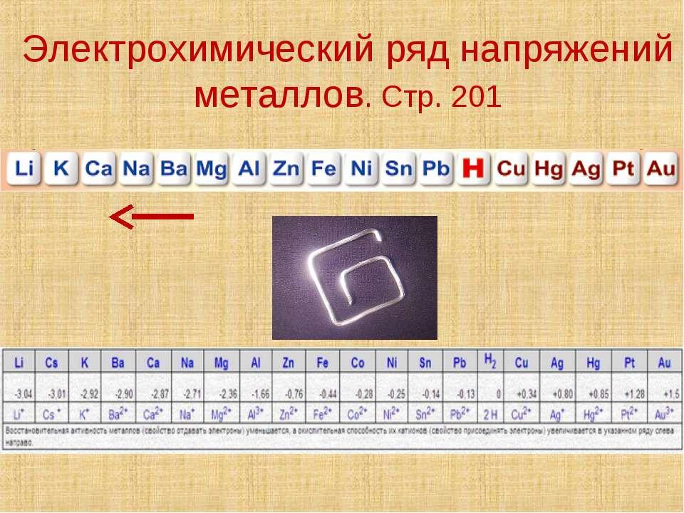 Электрохимический ряд напряжений металлов. Стр. 201