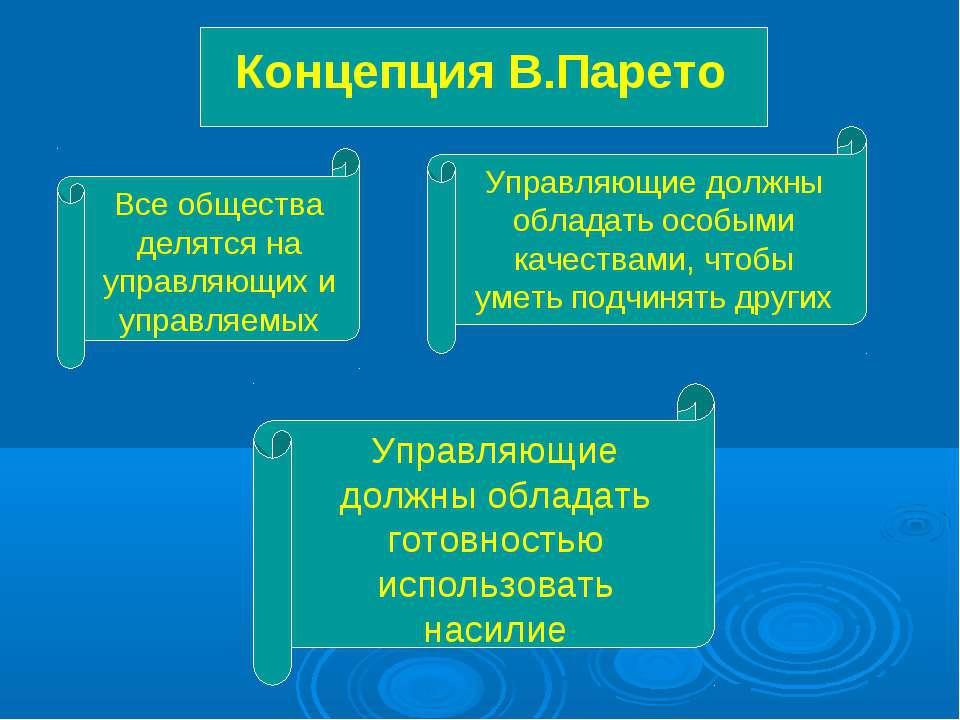 Концепция В.Парето Все общества делятся на управляющих и управляемых Управляю...