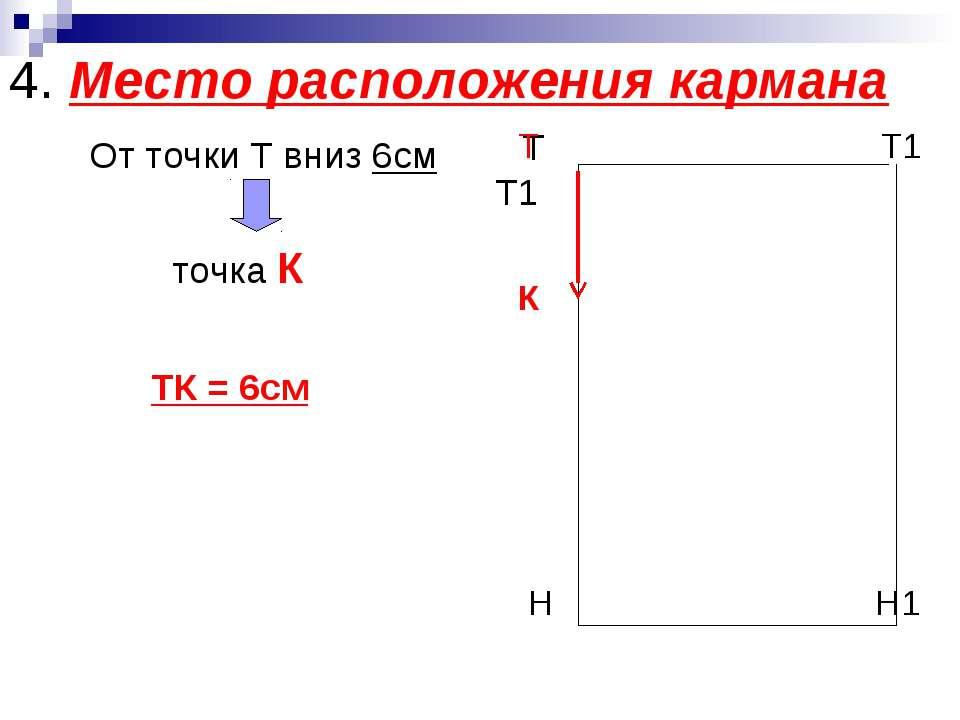 4. Место расположения кармана От точки Т вниз 6см точка К ТК = 6см Т Т1 Т Т1 ...