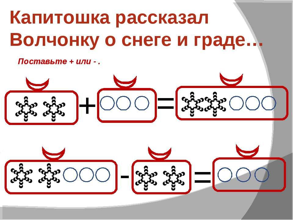Капитошка рассказал Волчонку о снеге и граде… + = - = Поставьте + или - .