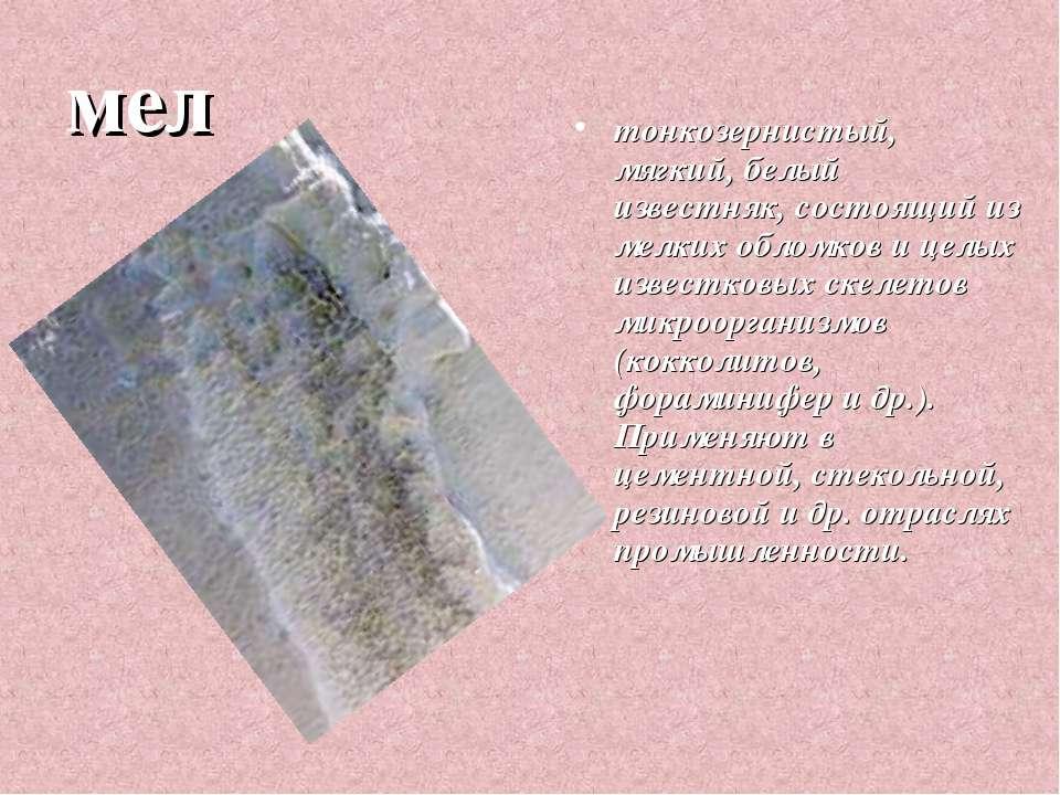 мел тонкозернистый, мягкий, белый известняк, состоящий из мелких обломков и ц...
